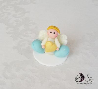 Cake topper angelo personalizzabile con piedoni rosa o celeste