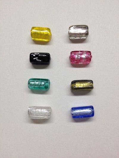 PIVE: perla in vetro di Murano a forma rettangolare.  10 pezzi.