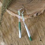 Orecchini pendenti lunghi a goccia, con perle in vetro