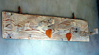 lampada legno pietra