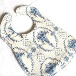 bavaglia double face in spugna di cotone e tessuto  panna e blu