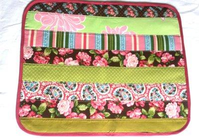 set 4 tovagliette americane patchwork multicolore verde, rosso, giallo, rosa, marrone ...
