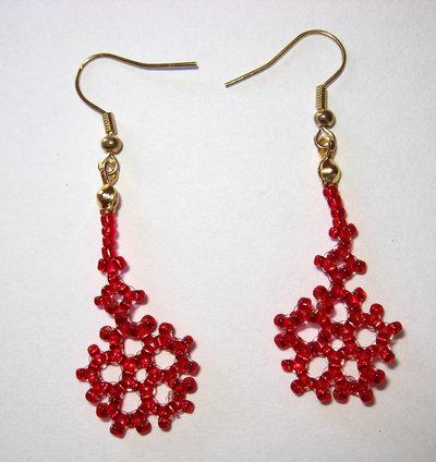 Orecchini fiocco di neve rossi monachelle dorate