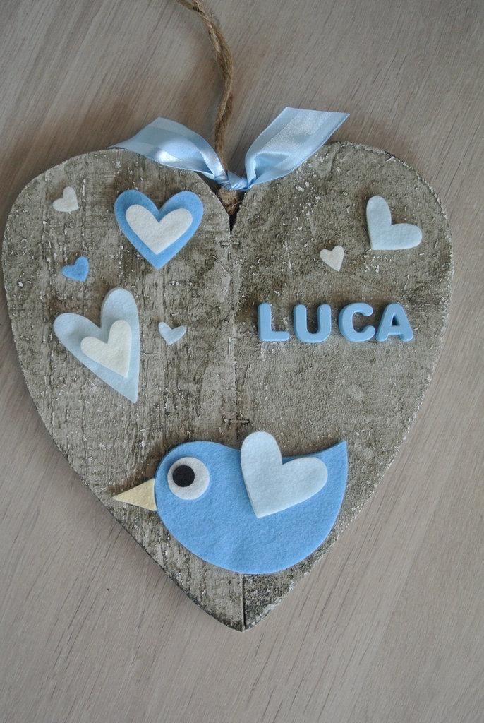 Fiocco nascita cuore azzurro