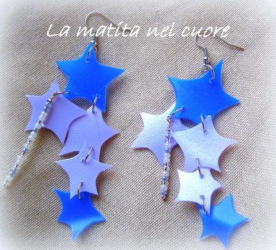 """Orecchini """"Notte di S.Lorenzo"""" mille stelle cadenti in plastica pet e perline"""