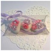 confettata matrimonio, confetti decorati in fucsia e lilla