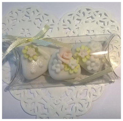 confettata matrimonio, confetti decorati in rosa e giallo, in confezione  tipo 2