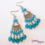 Orecchini chandelier blu zircon