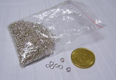 100 anellini silver 4 mm