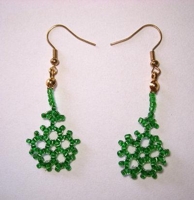 Orecchini fiocco di neve verde scuro monachelle dorate