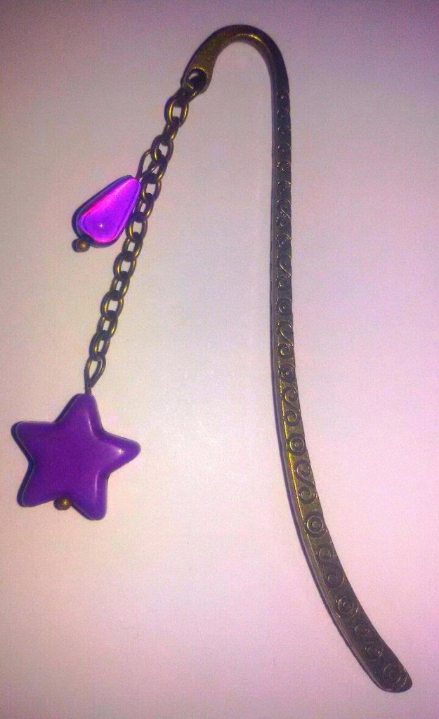 Segnalibro bronzo con stella viola
