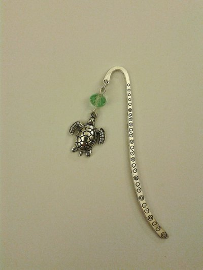 Segnalibro argento con tartaruga e perla verde