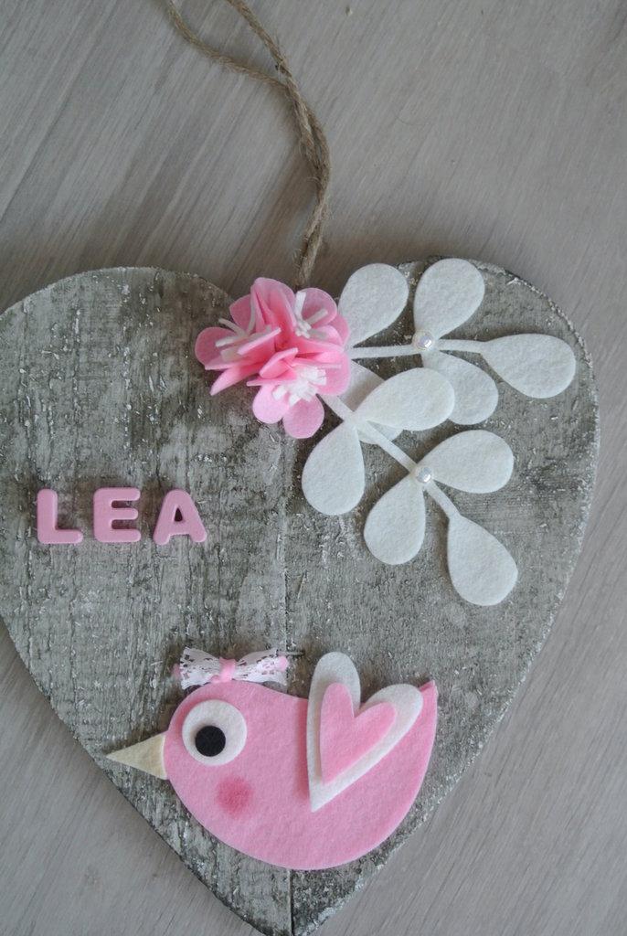 Fiocco nascita cuore grezzo passerotto rosa