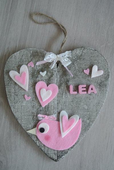 Fiocco nascita cuore passerottino rosa con cuori