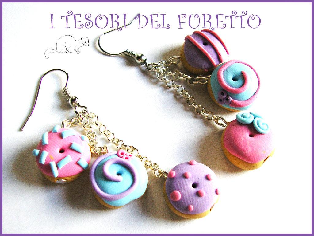 """Orecchini """"Donut al zucchero lilla e rosa""""  fimo cernit idea regalo bambina NAtale clip fimo cernit"""