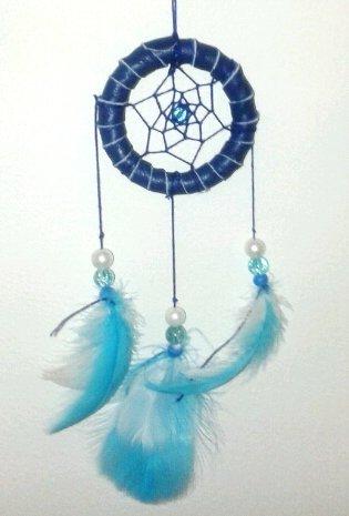 Acchiappasogni in pelle blu decorato con perline e piume- handmade - Onde marine
