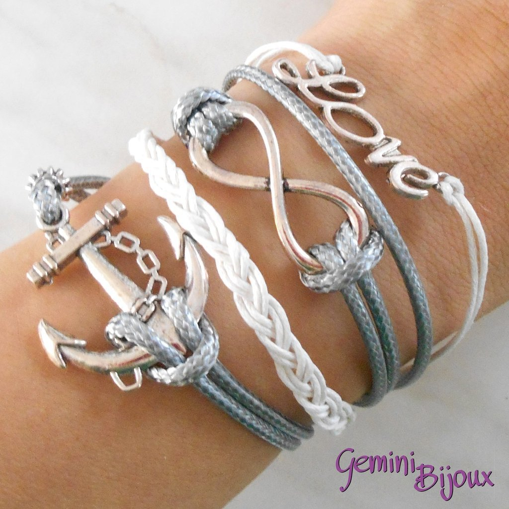 Bracciale multifile grigio in corda con ancora, love, infinito e treccia