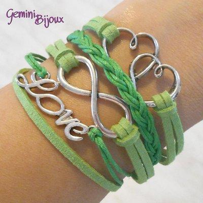 Bracciale multifile verde scamosciato con cuori, love, infinito e treccia