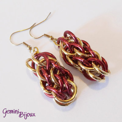 Orecchini Chainmail Red Gold