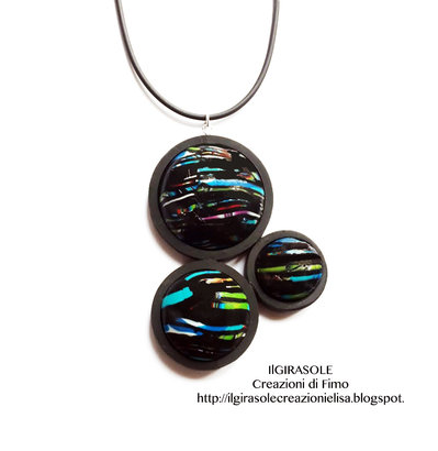 Collana minimalista nera in fimo: Black Bubbles