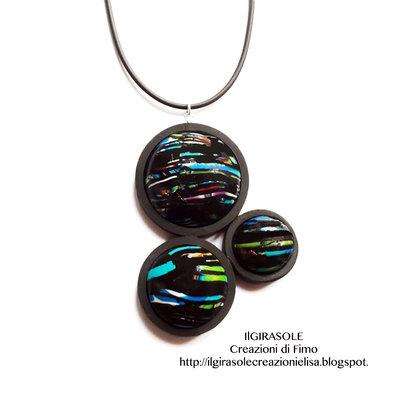 Collana minimalista nera in fimo: Black Bubbles