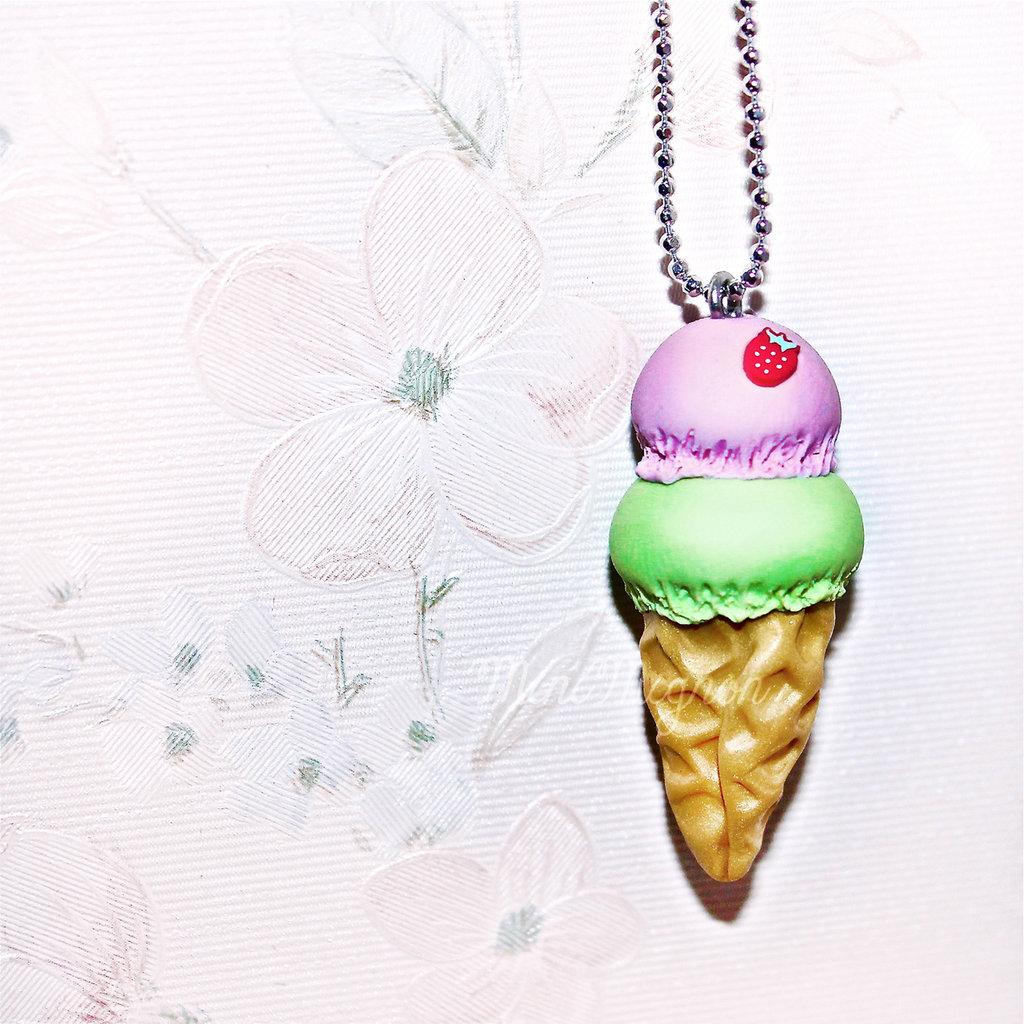 Collana lunga con gelato Fragola&Pistacchio