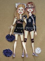 Bambole di carta articolate,fatte su misura,personalizzate,uniche nel suo genere