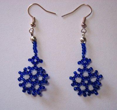Orecchini fiocco di neve blu monachelle argentate