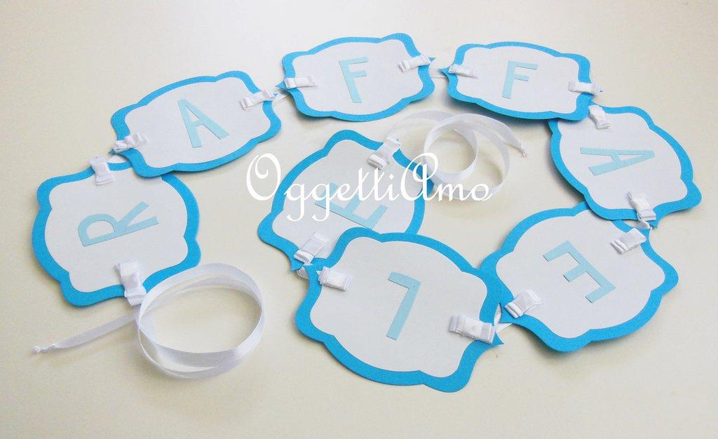 Raffaele: Ghirlanda di carta per la festa del vostro bambino, decorazioni colorate e personalizzabili.