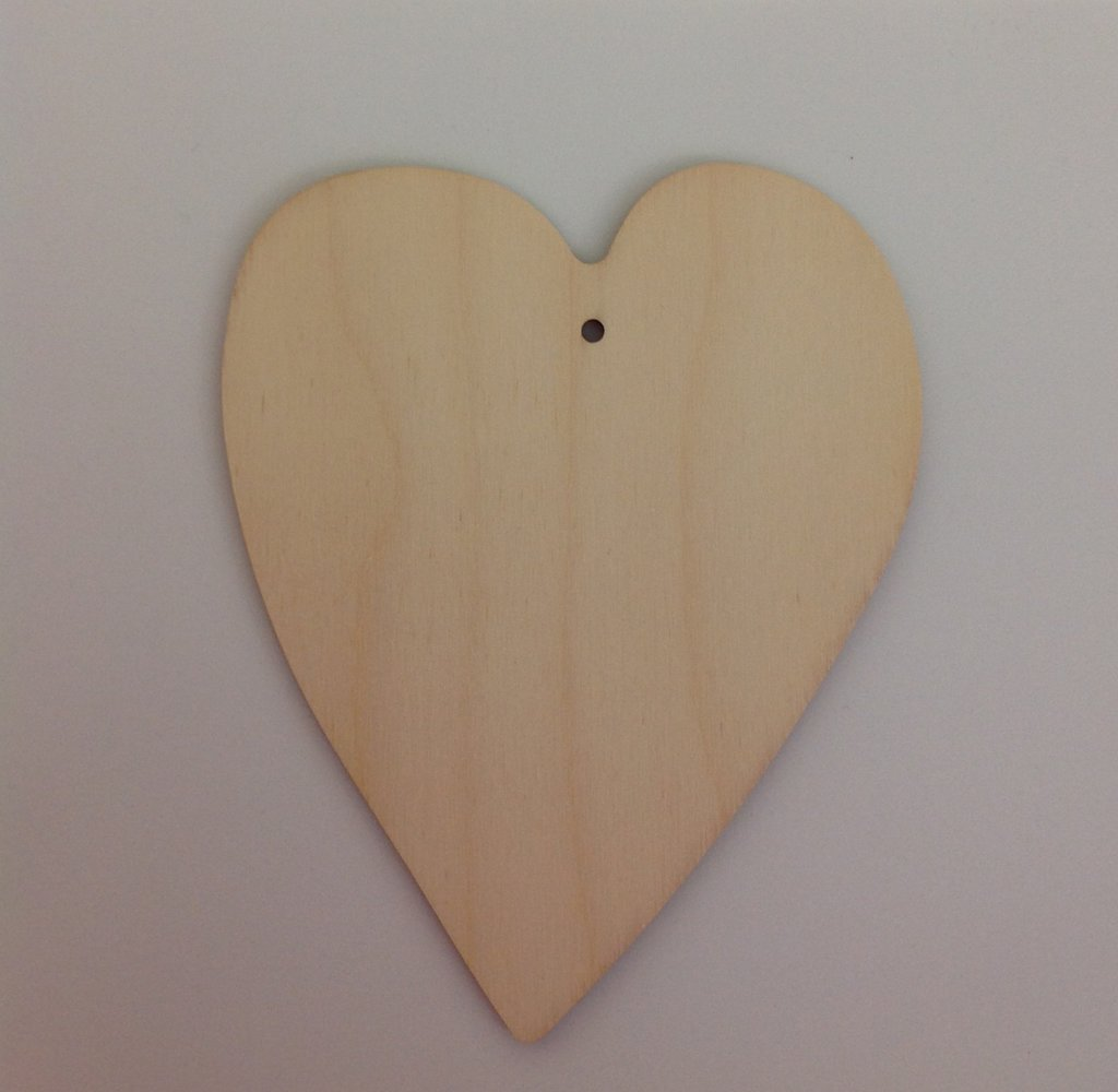 Cuore in legno grezzo da decorare
