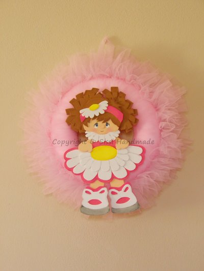 Fiocco nascita 'Benvenuta Bimba' in tulle rosa con decorazione in gomma crepla