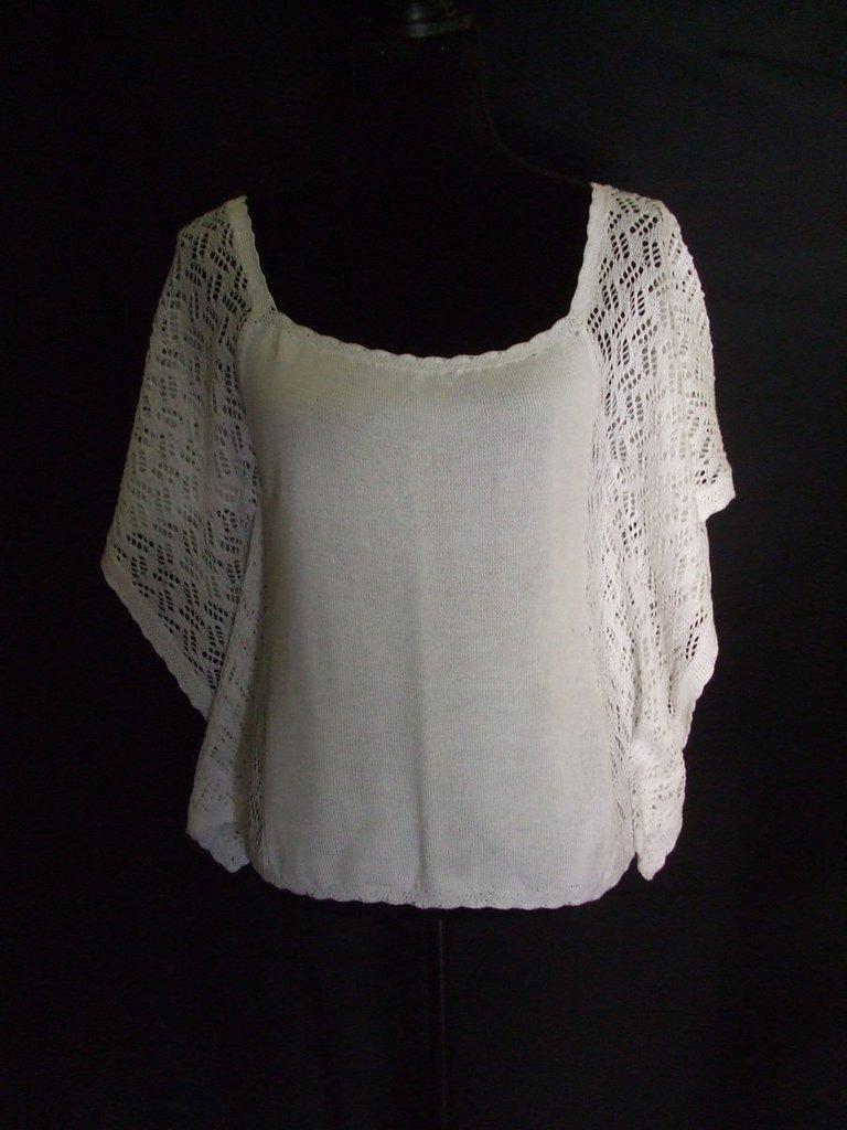 maglietta donna maglia cotone pizzo