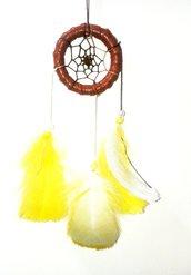 Acchiappasogni handmade in pelle e piume gialle e bianche