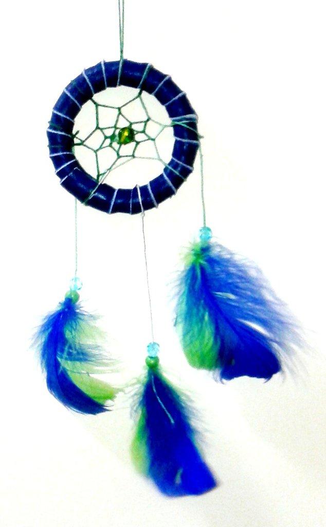 Acchiappasogni in pelle blu decorato con perline e piume handmade - Onde marin
