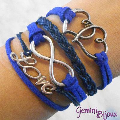 Bracciale multifile blu elettrico scamosciato con cuori, love, infinito e treccia
