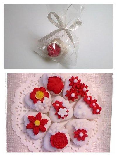 segnaposto,  lotto di 10 pezzi, confetti decorati, fiori rossi