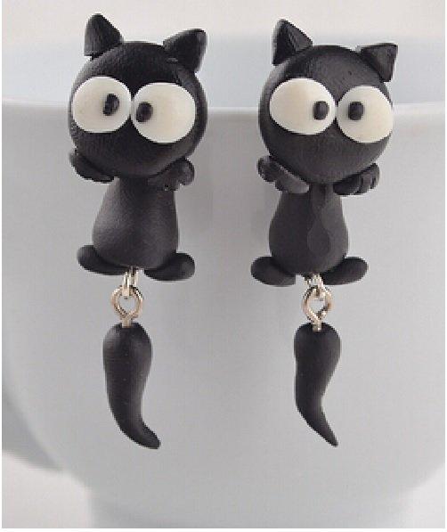 Orecchino handmade polymer gatto nero