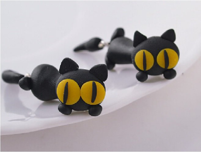 Orecchino handmade polymer gatto occhi gialli