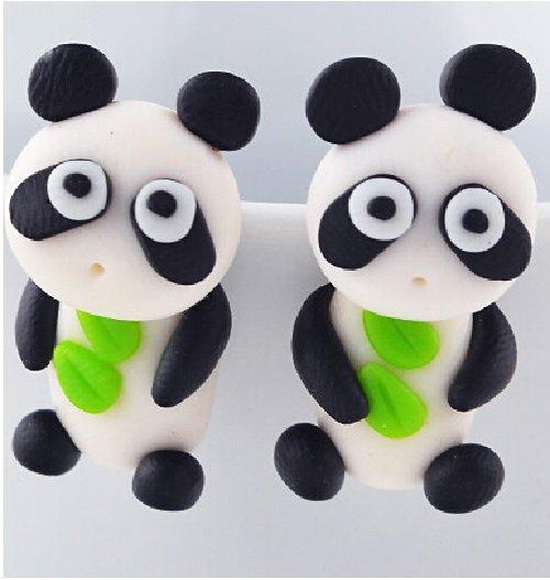 Orecchino handmade polymer panda