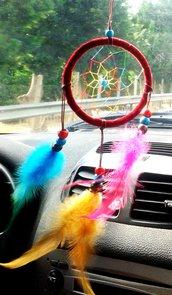 Acchiappasogni bordeaux filo e piume multicolor