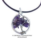 Collana a girocollo con albero della vita con ametista viola
