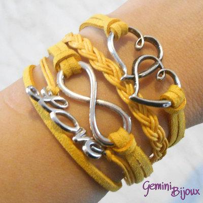 Bracciale multifile giallo scamosciato con cuori, love, infinito e treccia