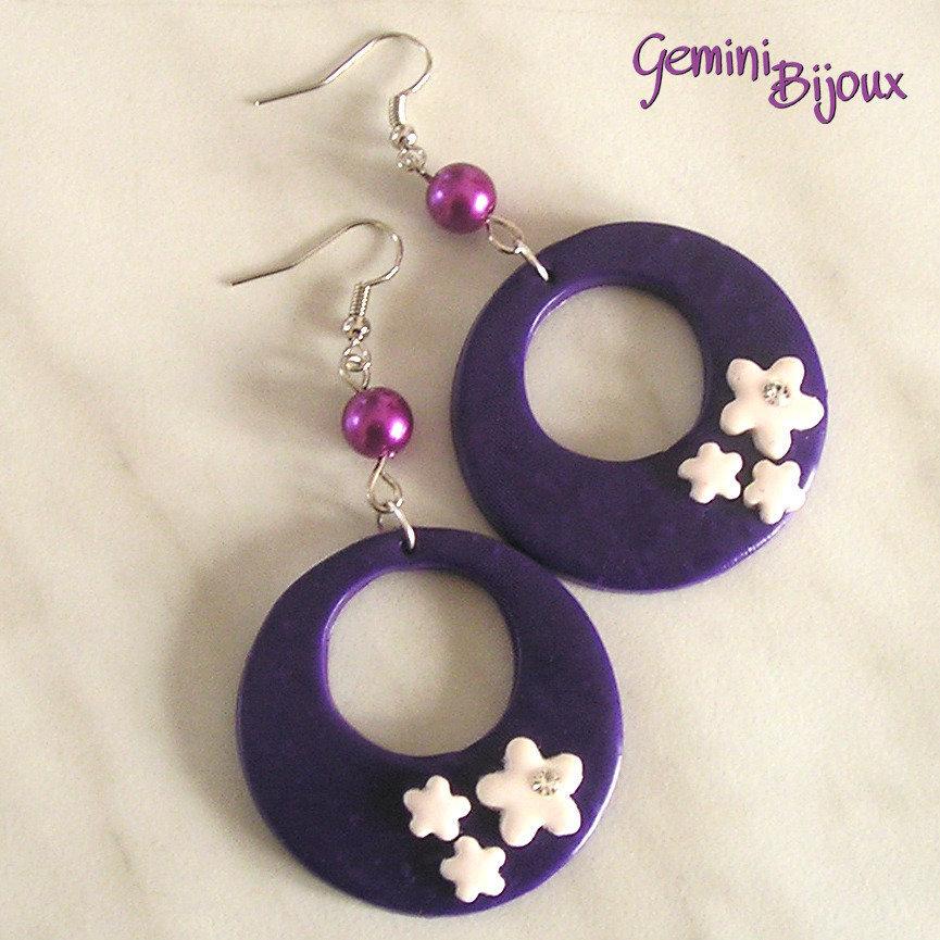 Orecchini fimo cerchi e fiori purple con strass