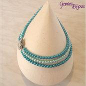 Collana di perle a tre file con chiusura madreperla