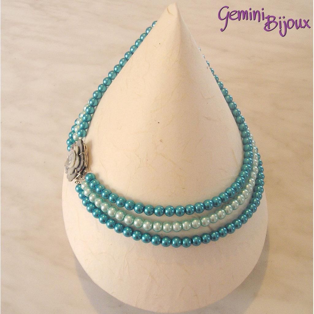 Collana di perle a tre file con chiusura madreperla gioielli co su misshobby - Collane di design ...