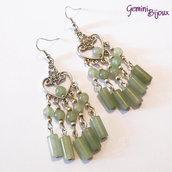 Orecchini chandelier con perle e tubi di pietra dura avventurina verde