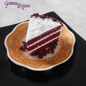"""Vassoio nero ceramica decorato """"Red Velvet Cake"""" in fimo, fatto a mano"""