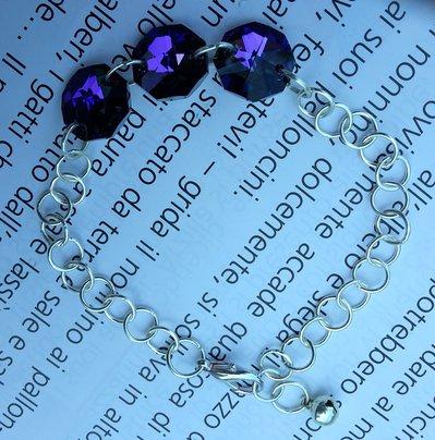Braccialetto cristalli viola