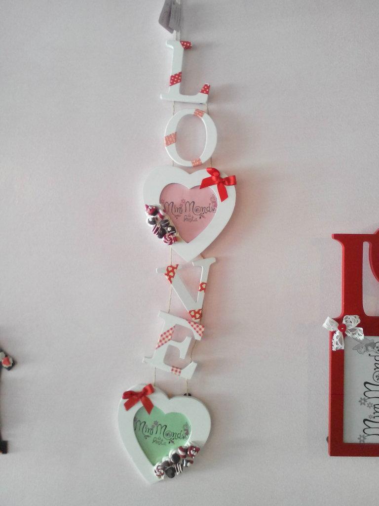 cornice in legno decorata in fimo