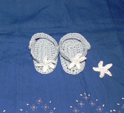 Scarpine infradito sandali bimba azzurre con stella di mare da 1 a 4 mesi circa